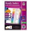 Avery Ready Index Contemporary Table of Contents Divider, 1-12, Multi, Letter