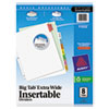 Avery WorkSaver Big Tab Extrawide Dividers W/ 8 Multicolor Tabs, 9 x 11, White, 1/Set