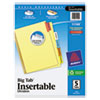 Avery WorkSaver Big Tab Reinforced Dividers, Multicolor Tabs, 5-Tab, Ltr, Buff, 1/Set