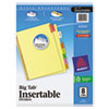 Avery WorkSaver Big Tab Reinforced Dividers, Multicolor Tabs, 8-Tab, Ltr, Buff, 1/Set