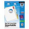 Avery WorkSaver Big Tab Extrawide Dividers W/ 5 Multicolor Tabs, 9 x 11, White, 1/Set