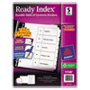 Avery Ready Index Classic Tab Titles, 5-Tab, 1-5, Letter, Black/White, 5/Set
