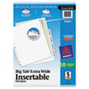 Avery WorkSaver Big Tab Extrawide Dividers, Clear Tabs, 5-Tab, 9 x 11, White, 1/Set