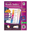 Avery Ready Index Customizable Table of Contents, Asst Dividers, 8-Tab, 11 x 9 1/2