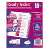 Avery Ready Index Customizable Table of Contents Asst Dividers, 8-Tab, Ltr, 24 Sets