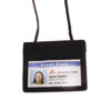 ID Badge Holder w/Convention Neck Pouch, Horizontal, 4w x 2 1/4h, Black, 12/Box