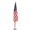 Indoor 3' x 5' U.S. Flag, 8 ft. Oak Staff, 2&quot; Gold Fringe, 7&quot; Goldtone Eagle Top