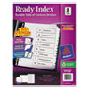Avery Ready Index Customizable Table of Contents Black & White Dividers, 8-Tab, Letter