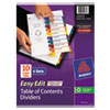 Ready Index Easy Edit Contents Dividers, Title 1-10, Letter, Multicolor, 6 Sets