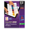 Avery Ready Index Customizable Table of Contents, Asst Dividers, 5-Tab, Ltr, 6 Sets