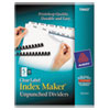 Avery Index Maker Clear Label Unpunched Divider, 5-Tab, Letter, White, 25 Sets