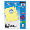 Avery WorkSaver Big Tab Dividers W/ CPR Holes, Clear Tabs, 5-Tab, Letter, Buff, S/Set