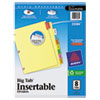 Avery WorkSaver Big Tab Dividers W/ CPR Holes, 8 Multicolor Tabs, Letter, Buff, 1/Set