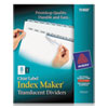 Index Maker Clear Label Punched Dividers, Clear 8-Tab, Letter