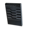 Wall File with Supplies Organizer, Letter, Four Pocket, Black