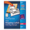 Shipping Labels with Paper Receipt, 5 1/16 x 7 5/8, White, 50/Pack