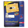 Avery White Weatherproof Laser Shipping Labels, 1-1/3 x 4, 700/Pack