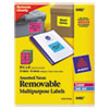 Avery Removable Self-Adhesive Multipurpose Labels, 3-1/3 x 4, Assorted Neon, 72/Pack