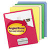 Smead Slash Pocket Folders, Letter, 11 Point, Blue/Green/Manila/Red/Yellow, 25/Pack