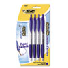 BIC Atlantis Ballpoint Retractable Pen, Blue Ink, Medium, 4 per Pack