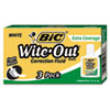 BIC Wite-Out Extra Coverage Correction Fluid, 20 ml Bottle, White, 3/Pack