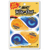 "BIC Wite-Out EZ Correct Correction Tape, Non-Refillable, 1/6"" x 400"", 4/Pack"