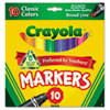 Crayola Non-Washable Markers, Broad Point, Classic Colors, 10/Set
