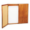 Wood Conference Room Cabinet, Dry Erase/Cork Boards, 48 x 5 x 48, Medium Oak