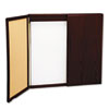 Wood Conference Room Cabinet, Dry Erase/Cork Boards, 48 x 5 x 48, Mahogany