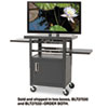Height-Adjustable Flat Panel TV Cart, 4-Shelf, 24w x 18d x 46h, Black