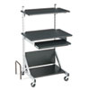 Fully-Adjustable Mobile Workstation, 30 x 24 x 52, Black