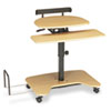 Hi-Hi-Lo Adjustable Pneumatic Workstation, 39-1/2w x 31-1/4d x 39-1/4h, Teak