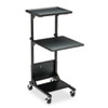 Adjustable Height Projection Stand, 3-Shelf, 18w x 20d x 47-1/2h, Black