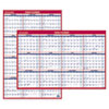 AT-A-GLANCE Erasable Vertical/Horizontal Wall Planner, 24 x 36, Blue/Red, 2015