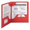 Smead Lockit Two-Pocket Folder, Leatherette Stock, 11 x 8-1/2, Red, 25/Box
