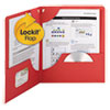 Smead Lockit Two-Pocket Folder, Leatherette Stock, 11 x 8-1/2, Red, 25/Box