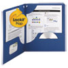 Smead Lockit Two-Pocket Folder, Textured Heavyweight Paper, 11 x 8 1/2, DK Blue, 25/BX