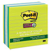 Post-it Notes Super Sticky Recycled Notes in Bora Bora Colors, 4 x 4, 90/Pad, 6 Pads/Pack