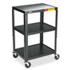 5-In-1 Standard Adjustable AV Cart/Stand, 3-Shelf, 24 x 18 x 42, Black
