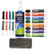 EXPO Low-Odor Dry Erase Marker, Eraser & Cleaner, Chisel/Fine, 12/Set