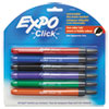 EXPO Click Dry Erase Markers, Fine Tip, Assorted, 6 per Set