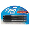 EXPO Click Dry Erase Markers, Fine Tip, Black, 3 per Pack