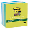 Post-it Notes Super Sticky Recycled Notes in Bora Bora Colors, 3 x 3, 90/Pad, 5 Pads/Pack