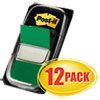 Post-it Flags Marking Page Flags in Dispensers, Green, 50 Flags/Dispenser, 12 Dispensers/Pack