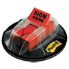 "Post-it Flags High Volume Flag Dispenser, ""Sign Here"", Red, 200 Flags/Dispenser"