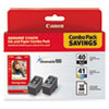 Canon 0615B009 (PG-40/CL-41) ChromaLife100+ Ink & Paper Combo Pack, Black/Tri-Color