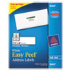 Avery Easy Peel Inkjet Address Labels, 1 1/3 x 4, White, 1400/Box