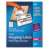 Avery Shipping Labels w/Paper Receipt, TrueBlock, 5 1/16 x 7 5/8, White, 50/Pack