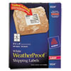 Avery WeatherProof Mailing Labels w/TrueBlock, Laser, White, 3 1/3 x 4, 300/Pack