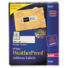 Avery WeatherProof Mailing Labels w/TrueBlock, Laser, White, 1 1/3 x 4, 700/Pack